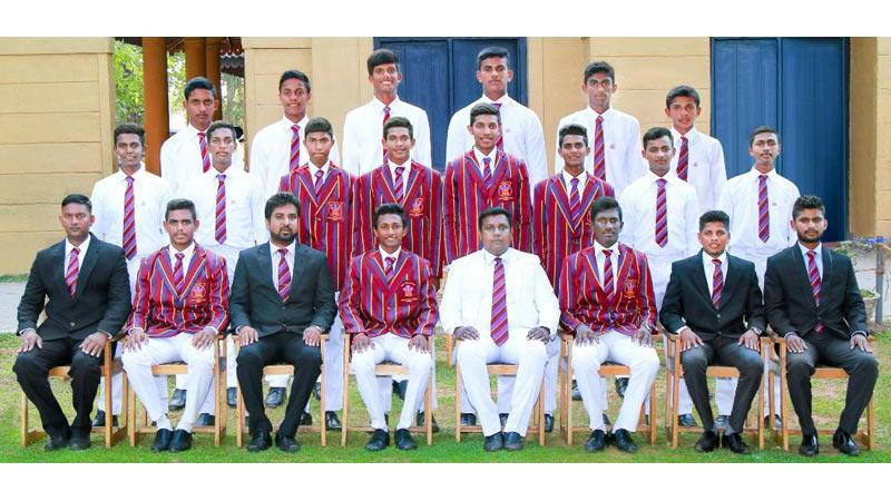 Prince of Wales' College squad: Seated from left: Kalpa Fernando (coach), Kaumal Nanayakkara, Vajira Abeywickrama (PoG), Suwath Mendis (Captain), Kusala Fernando (Principal), Prince Fernando (Vice Captain), Kasun Devapriya (MIC), Asela Perera (asst. coach) Middle row standing from left: Lakshan Perera, Pasindu Pathum, Vinuja Ranpul, Naduka Fernando, Tharuka Fernando, Devaka Peiris, Kavinda de Mel, Tharindu Amarasinghe. Back row standing from left: Rashan Fernando, Omesh Mendis, Dinura Fernando, Anupa Heshan