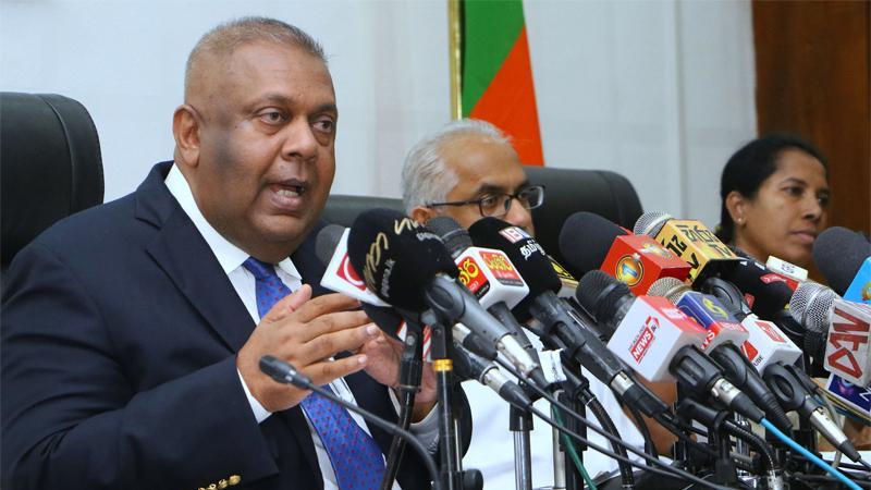 Minister Mangala Samaraweera at the press conference.