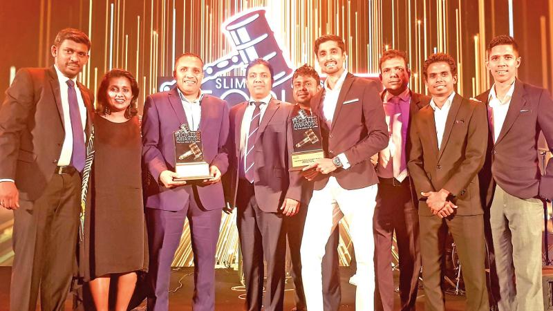 Team Elephant House with awards for 'Beverage Brand of the Year' and 'Youth Choice Beverage Brand of the Year' at the SLIM-Nielsen People's Awards 2019.