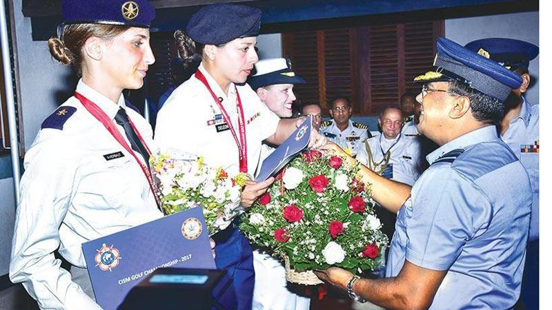 File photo! Winners at the Military World Golf Championship 2017 held in Sri Lanka receive their trophies from Air Marshal Kapila Jayampathy, Commander of the Air Force