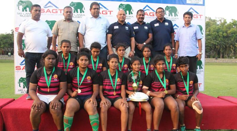 The winning North Western 'B' (Wayamba) squad on the podium comprising Sachinthani Ariyawansa (captain), Himasha Ratnayake, Lakshika Appuhamy, Probodani Dissanayake, Nirmala Priyadharshani, Dilki Sandana, Hashani Dassanayake, Lakshani Mallawa, Nemesha Sewwandi, Nuwanthika Chandrasiri and Sewwandi Munasinghe