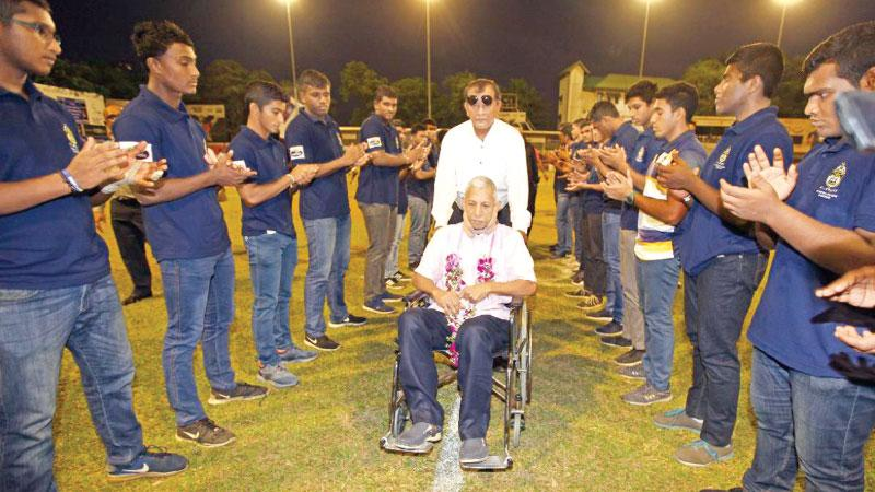 Members of St. Peter's College rugby team afford Chandrishan a guard of honour assisted by his former club mate Tony Amit
