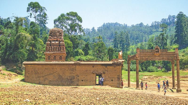 Sri Kathireshan Hindu temple at the reservoir bed of Maussakele
