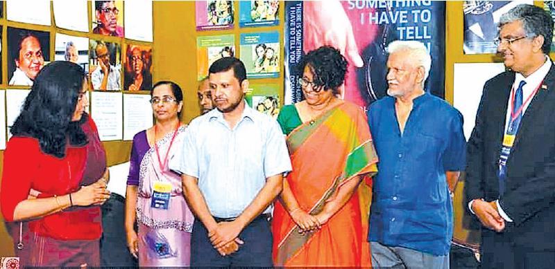 Author Madhubhashini (on left) with G. Britto, Dr. Harini Amarasuriya, Elmo Jayawardene and Dr. Harshana Rambukwella