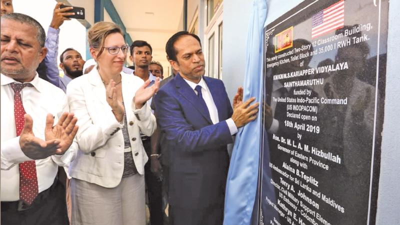 US Ambassador to Sri Lanka Alaina B. Teplitz opening a renovated school