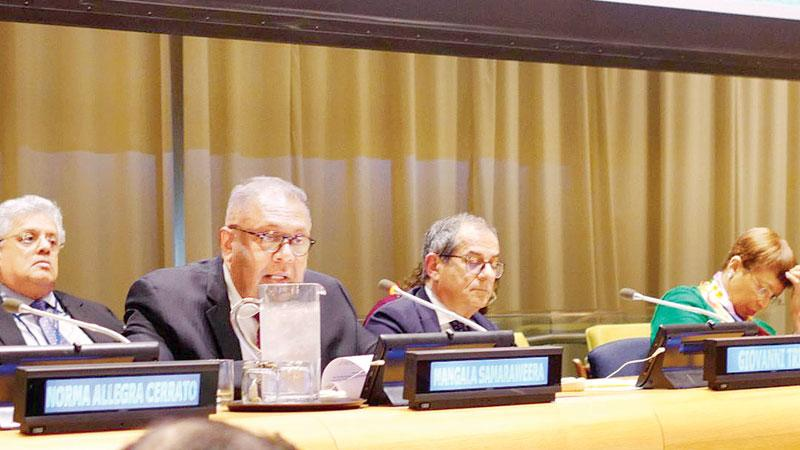 Finance Minister Mangala Samaraweera at the UN ECOSOC Financing for Development Forum in New York.