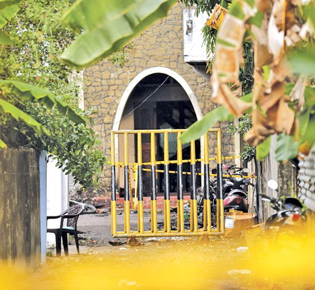 Entrance of the Zion Church cordoned off by the police.