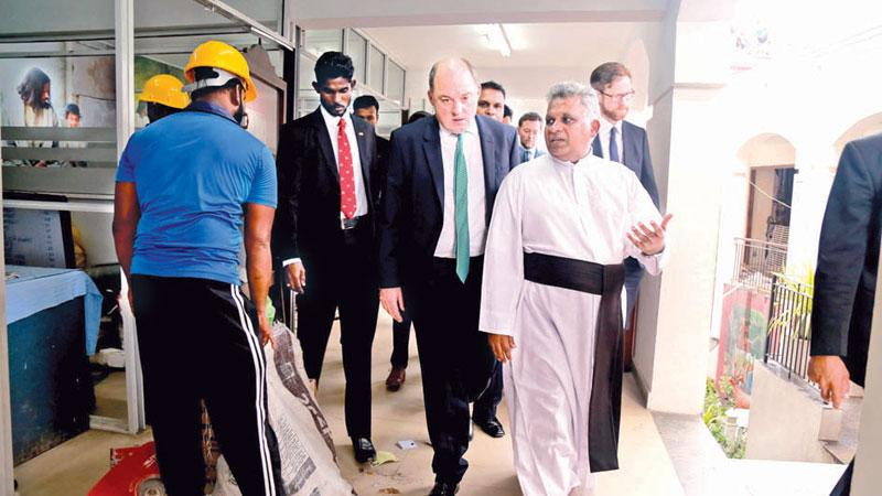 UK Minister for Security and Economic Crime, Ben Wallace on an inspection tour of St. Anthony's Church, Kochchikade.  Pic: Sulochana Gamage