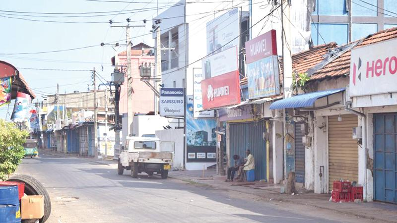 A hartal was held in Trincomalee last Friday (10) demanding the removal of Governor Hizbullah.   Pic: Amadooru Amarajeewa, Trincomalee Special Cor.