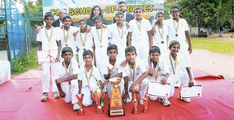 The champion NCC Cricket Academy team: Chamath Perera (captain), Chanul Athale, Senidu Gamlath, Nimthaka Gunawardena, Seniru Fernando, Aashir Fernando, Amad Afdhal, Chamika Heenatigala, Gimantha Dissanayake, Demian de Silva, Akila Silva, Danindu Navarathna, Yasas Adesinghe, Chamuditha Lokubandara