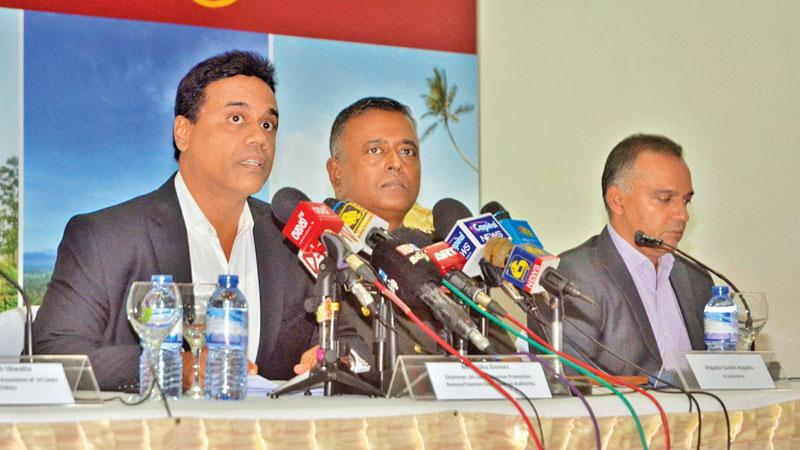 The head table at the media briefing. Pic: Vipula Amarasinghe