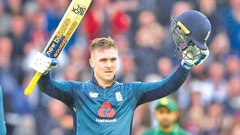 England's Jason Roy celebrates his century which he said came out of the blues