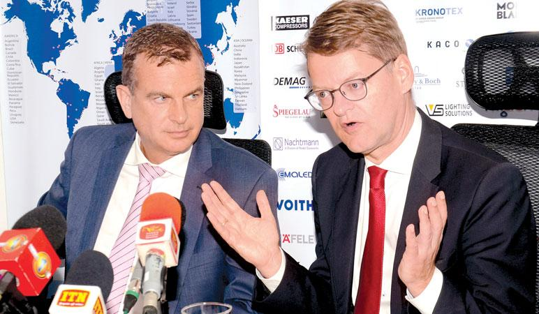 Andreas Hergenröther and Dr. Clemens Schuette at the press conference. Pic: Wimal Karunathilaka