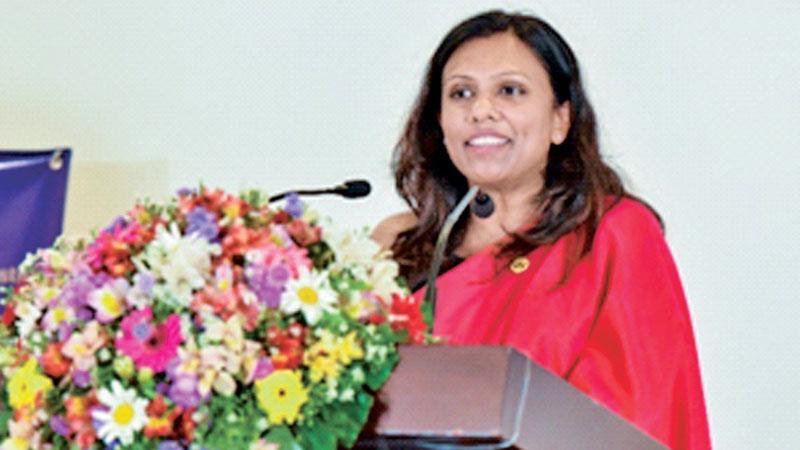 Incoming Chairperson Gayathri Karunanayake addressing the gathering