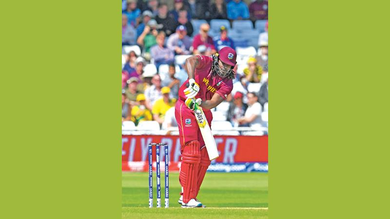 Chris Gayle bats during the match between Australia and West Indies at Trent Bridge (AFP)