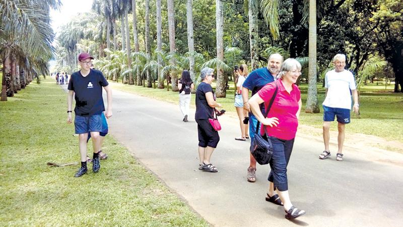 Tourists take a leisurely stroll at the Peradeniya gardens. Pic by Chandani Jayatilleke