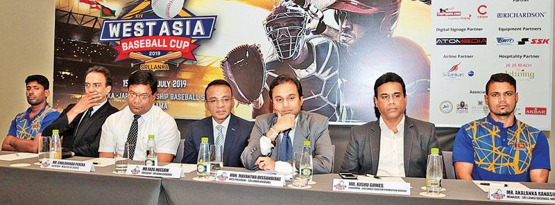 From left: Sameera Ratnayake (team captain), Priyantha Ekanayake (CEO Sri Lanka Baseball Association, Chulananda Perera (Secretary to the Ministry of Sports), Fazil Hussain (president SLBA) and Myantha Dissanayake (VP SLAB) Picture by Shan Rambukkwella