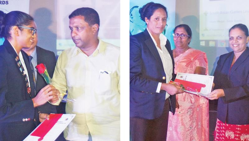Dilrukshi Perera who won two Gold medals and three Silver medals (swimming and athletics) at the last National Games receiving her award from Maithri Gunaratne, Governer of the Central Province  -L. Udayangani who won a Gold Medal in Boxing (75 Kgs) receiving her award from Kumudu Karunaratne