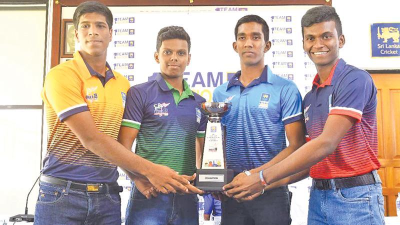 The captains with the trophy. Kamil Mishara (Colombo), Abishek Kahatuduarachchie (Galle), Ruvin Peiris (Kandy) and Nipun Dhanaraja (Dambulla)