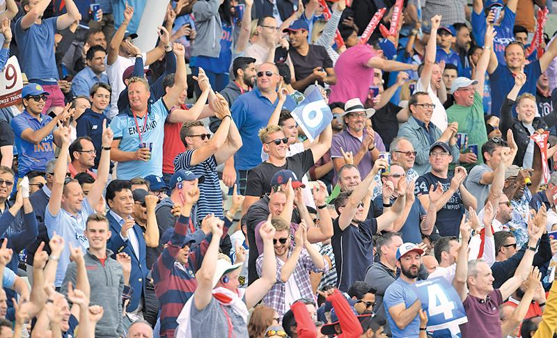 Spectators cheer during the 2019 Cricket World Cup second semi-final between England and Australia at Edgbaston in Birmingham (AFP)