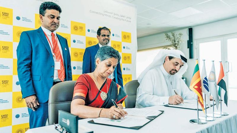 Chairperson and Chief Executive, Sri Lanka Export Development Board, Ms. Indira Malwatte, as the Commissioner General for Sri Lanka of Expo 2020 Dubai and Executive Director of Bureau of Expo 2020 Dubai, Najeeb Ali sign the participation contract.