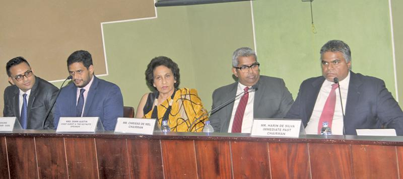 The head table: (From right)- Immediate Past Chairman, EASL, Harin de Silva, Chairman, EASL, Chrisso de Mel, founder member and past Chairperson, EASL, Dawn Austin  and two officials. Pix: Saliya Rupasinghe