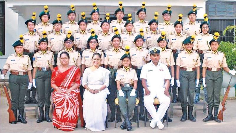 The victorious St. Paul's Girls School Milagiriya cadet team