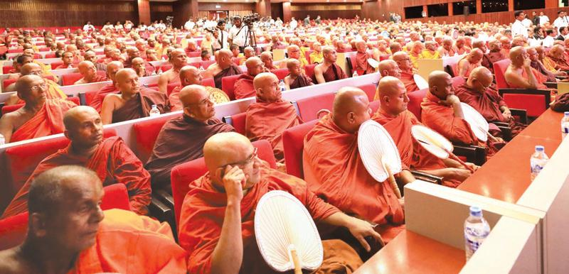 A section of the monks in the audience. Pix: Hirantha Gunathilaks