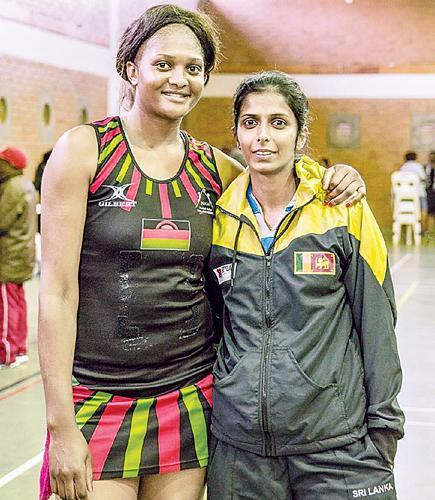 Iresha Harshini(right) with Malawi player Loera Ngwira