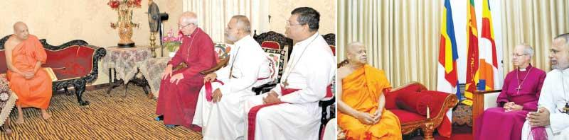 The Head of the Anglican Church, Archbishop of Canterbury Rev. Justin Welby in conversation with the Mahanayake of the Malwatte Chapter Most Ven. Thibbotuwawe Sri Siddhartha Sumangala Thera and the Mahanayake of the Asgiriya Chapter Most Ven. Warakagoda Sri Gnanarathana Thera.