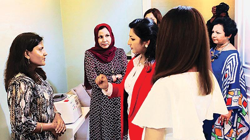Dr. Shanika Arsecularatne of Christell Skin Clinic in conversation with the  Maldives First Lady Fazna Ahmed.