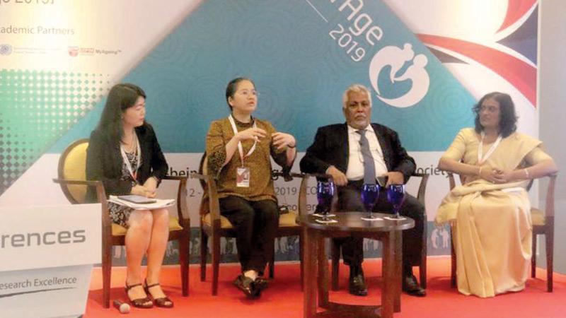 Panelists from left: Ritsu Nacken, Dr Reiko  Hayashi, Prof Lakshman Dissanayake and Dr Shiromi Maduwage