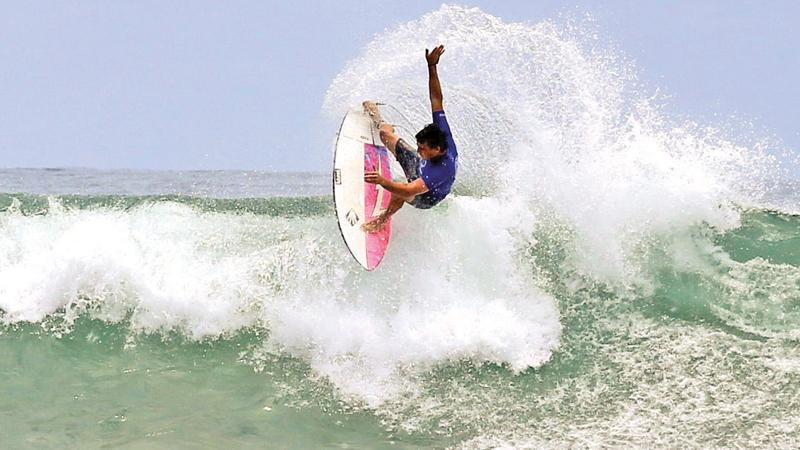 Champion Australian surfer Mitchel Parkinson in action during the final   Pix: Sulochana Gamage