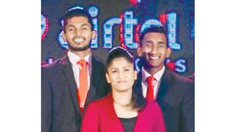 Airtel Fastest winners (from left) Malindu Shehan, Shayani Seneratne and Eshan Malinga