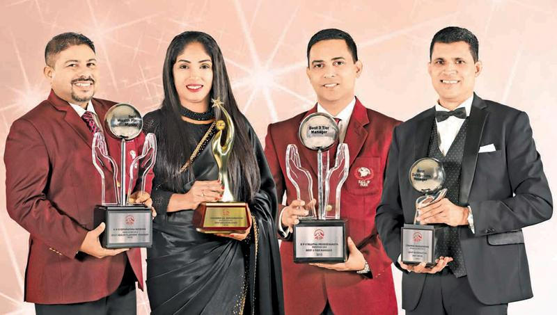 The top award winners. From left: Nilantha Senarathna Bandara (Best Wealth Planners' Manager), Chandima Wanniarachchi (Best Wealth Planner), Vinol Rajitha Priyasenarath (Best ADO Manager), Channa Dunusinghe (Best Distribution Head).