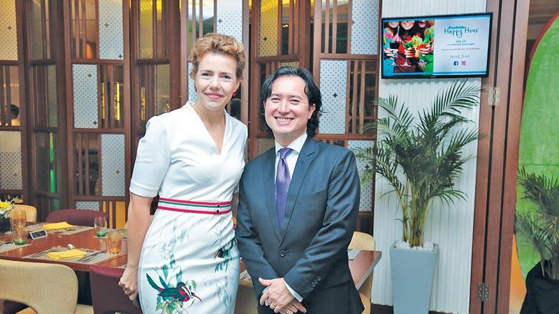 Linda Giebing, General Manager, Hilton Colombo Residences and Winston Alexander Silva, Charge d'Affaires of the Embassy of Brazil