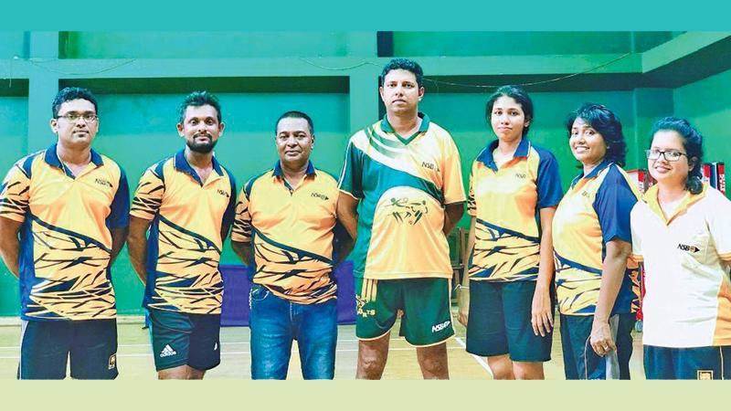 The winners from NSB: From left -Tharanga Wickramarachchi, Nilusha Hewawitharana, Dhammika Abeysekara, Prabath Indrajith, Waruni Nisansala, Nilanthi Sumanasekera and Kasuni Sugathadasa