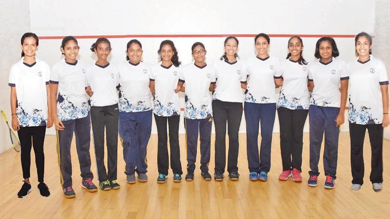 The Visakha Vidyalaya A and B teams emerged winners and runners-up respectively in the inter school squash tournament last week at S. Thomas' College squash courts. Pictured here are A team players Ushira Jayaweera (Captain), Malisha Fernando, Tharushi Maganaarachchi, Anargi Perera, Yeheni Kuruppu, Kasuni Gunawardena (absent) and B team players Hiruni Gunawardena, Sehansa Rupasinghe, Jayodhya Jayakody, Isini Dharmathilaka, Sehansa Karunanayake and Thenuli Adikaram. The A team beat Sirimavo Bandaranaike Coll