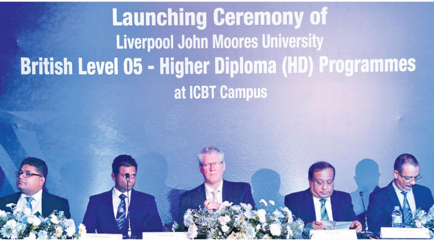 (From left to right): SampathPerera, General Manager – Academic Administration, ICBT Campus, Dr. SampathKannangara, CEO/Executive Dean, ICBT Campus,  Professor Peter Byers,  Pro vice Chancellor, LJMU – UK, Dr. JagathAlwis, Chairman, ICBT Campus, AnuraGamage, Director Marketing, ICBT Campus. Pix by Ranjith Asanka