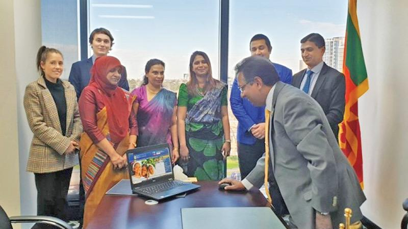Sri Lanka's newly appointed High Commissioner to Australia J.C.Weliamuna relaunching the website of the Consulate General of Sri Lanka in Melbourne