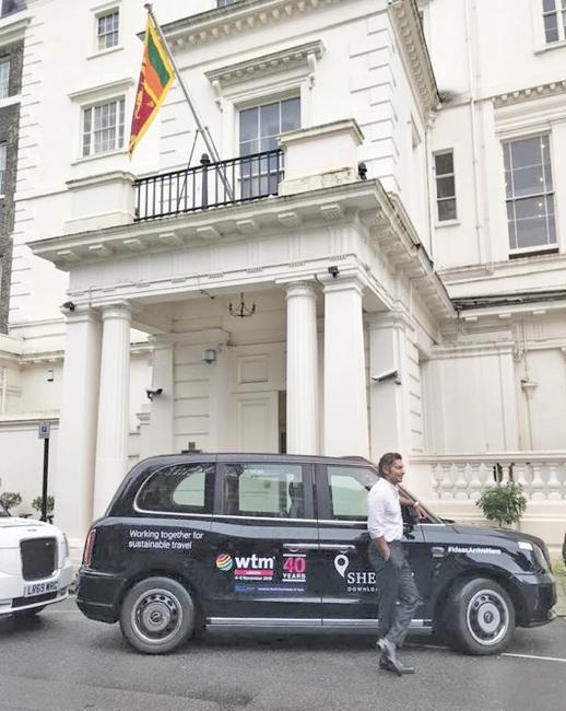 President of the Marylebone Cricket Club, Kumar Sangakkara gives interviews to the media on the revival of Sri Lanka Tourism in London at an event organised by the Sri Lanka Tourism Promotions Bureau last week.  Pic: Courtesy 'Tourism Sri Lanka Twitter'