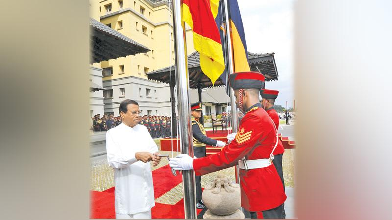 President Maithripala Sirisena at the opening of the newly constructed Army Headquarters. Pic By Rukmal Gamage