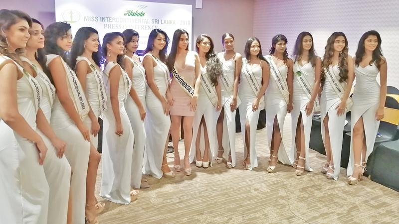 'Miss Intercontinental' Karen Gallman with the contestants.