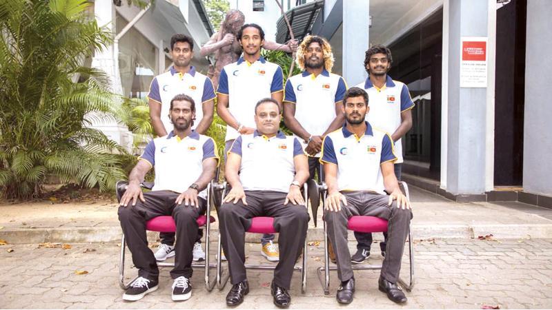 Seated from left: Praneeth Sandaruwan, Hiran Ukwatte (Chef de Mission and president of the SFSL), Lahiru Wijesekara (Manager). Standing from left: AH Milan, Lakshitha Madushan, Nadeen Sampath and Yashika Shehan
