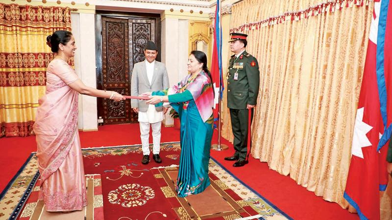 Ambassador Himalee  Arunatilaka presenting credentials to President Bidya Devi Bhandari of  Nepal