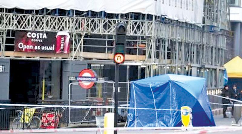 A cordoned-off area around London Bridge