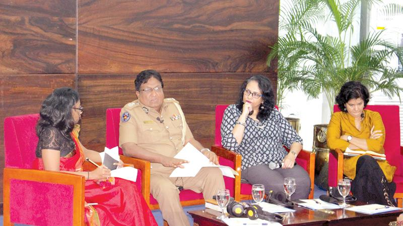 The panelists from right: Shreen Saroor, Shyamala Gomez, DIG Priyantha Jayakody and moderator Shashi de Mel.