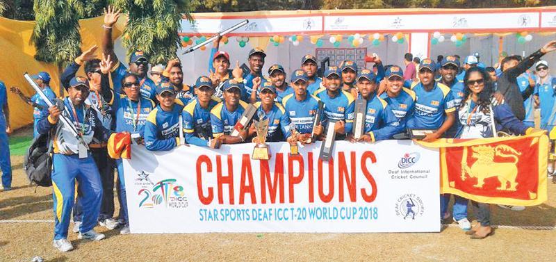 The World Cup champion cricket team consisted of G.L. Malcolm (captain), Sumudu Lanka (vice captain), Sampath Jayasinghe, Lakshan Fernando, Tharindra Deepika Wimalaweera, Shanaka Walgama (wicket-keeper), Chamara Dishan, Asanka Manjula, Udaya Lakmal, Rajitha Asanka, Alenross Kalep, Ushan Lakshitha, Nuwan Hasaranga, Dinuka Sachin and Janaka Tharanga. Officials were Jayalath Aponso (coach), Ushantha Gunartne (coach), Brian de Croose (interpreter), Mohamed Naizer (President – SLDCA), Hemajith Kumara (Secretary