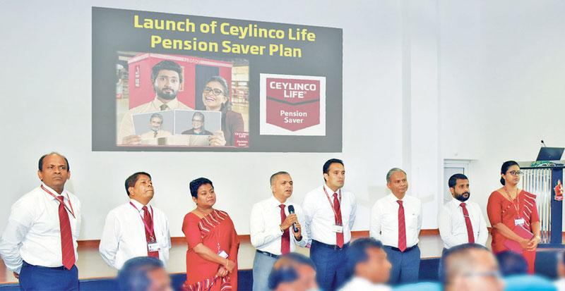Representatives of the management of Ceylinco Life brief the sales team at the launch of the Pension Saver Plan.
