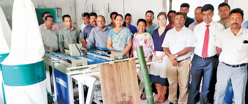 At the presentation of hi-tech machinery to manufacture bamboo boards.